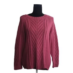 JOE FRESH Sweater Pink Cable Knit Pull Over